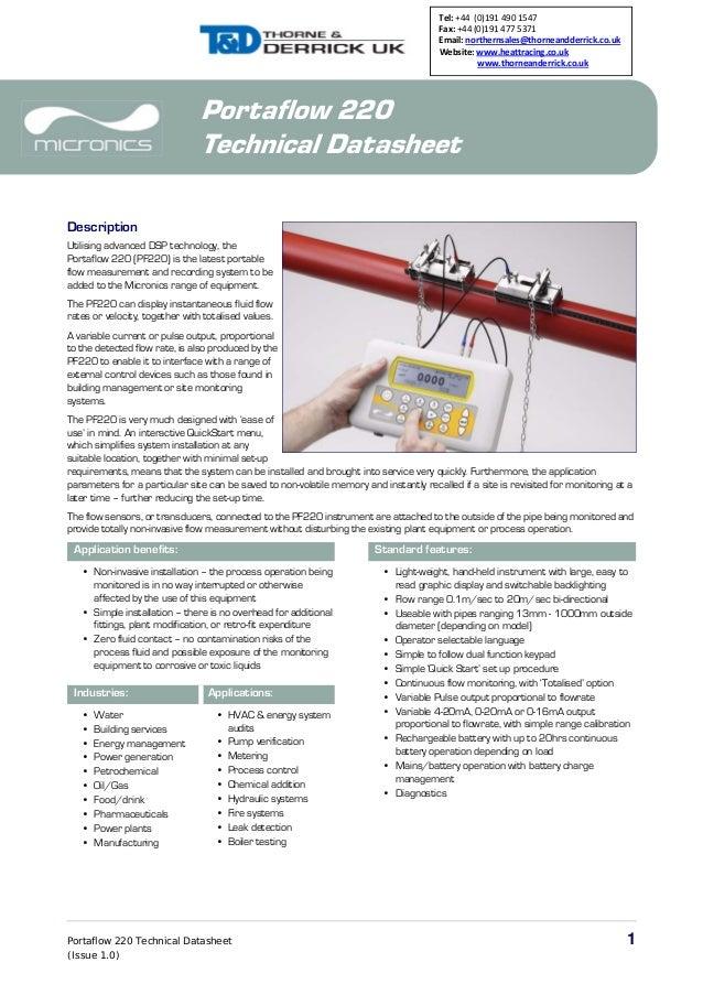 Portaflow 220 Technical Datasheet 1 (Issue 1.0) Portaflow 220 Technical Datasheet Description Utilising advanced DSP techn...