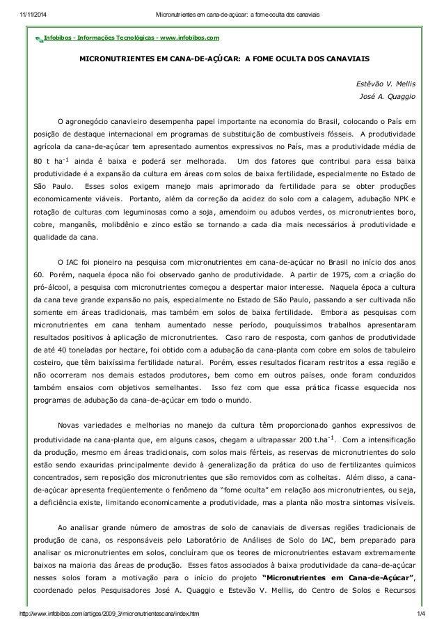 11/11/2014 Micronutrientes em cana-de-açúcar: a fome oculta dos canaviais  Infobibos - Informações Tecnológicas - www.info...