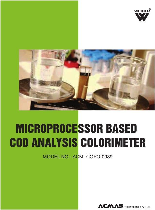 R  MICROPROCESSOR BASED COD ANALYSIS COLORIMETER MODEL NO.- ACM- COPO-0989