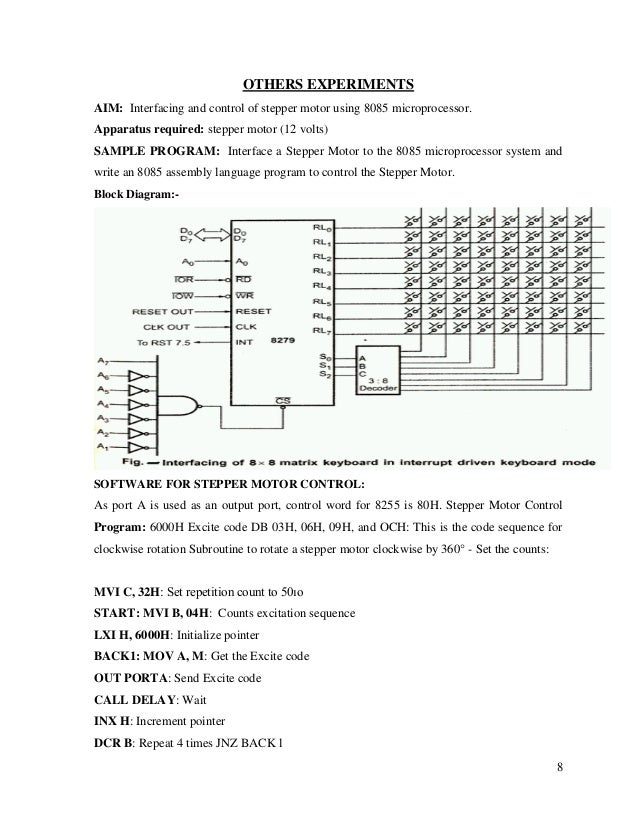 Microprocessor lab manual for Stepping motors and their microprocessor controls