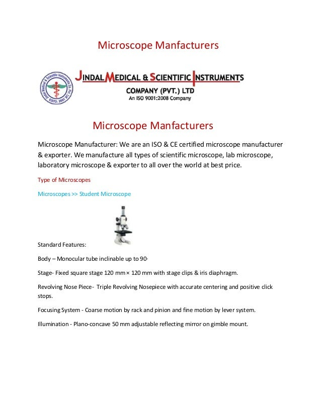 Microscope Manfacturers