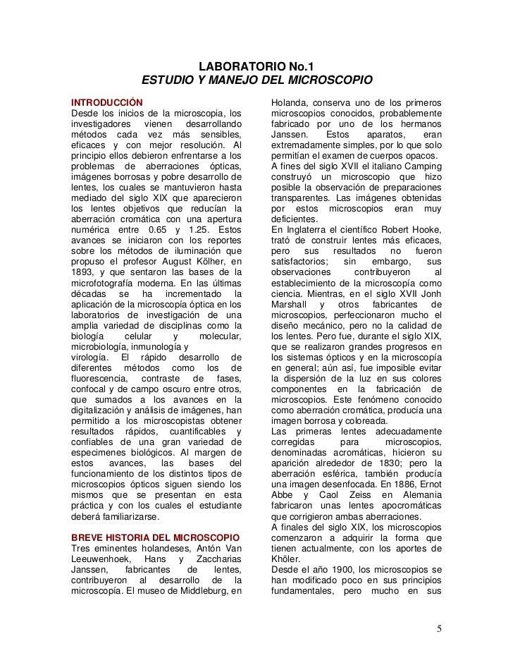 LABORATORIO No.1                  ESTUDIO Y MANEJO DEL MICROSCOPIOINTRODUCCIÓN                                   Holanda, ...