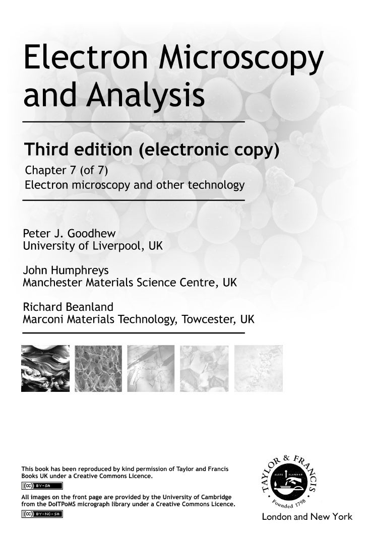 Electron microscopy and other techniques