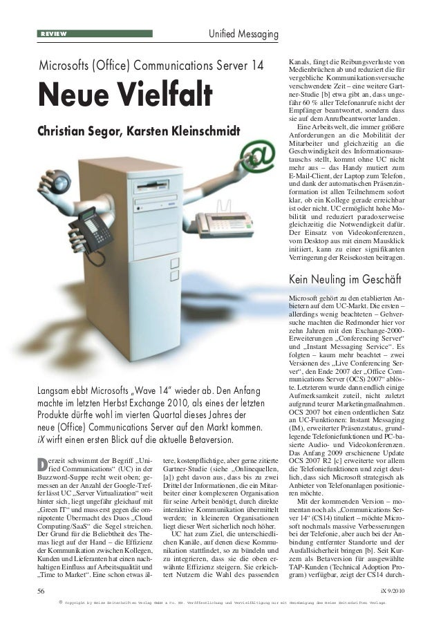 Neue Vielfalt des Office Communication Servers