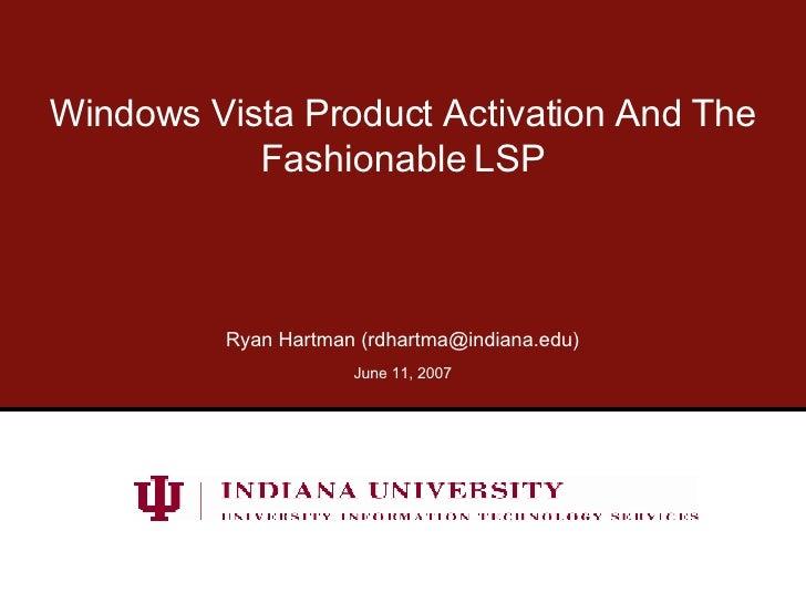 Microsoft Windows Vista  Application Licensing
