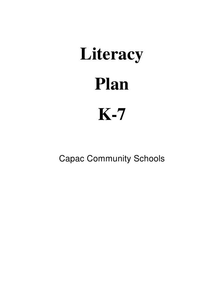 Literacy        Plan         K-7  Capac Community Schools