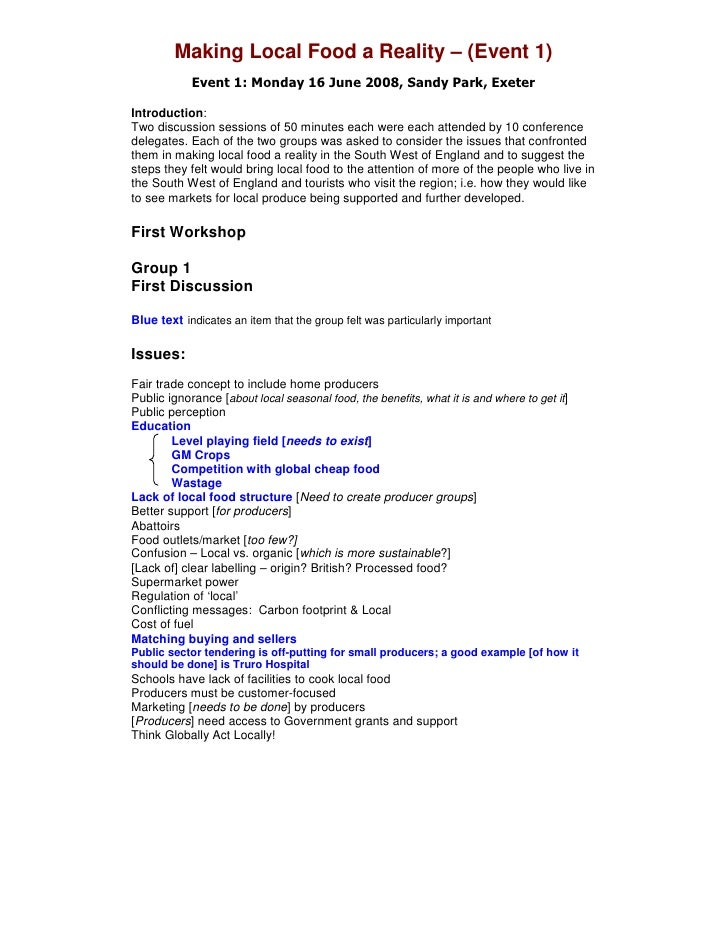 Making Local Food a Reality – (Event 1)             Event 1: Monday 16 June 2008, Sandy Park, Exeter  Introduction: Two di...