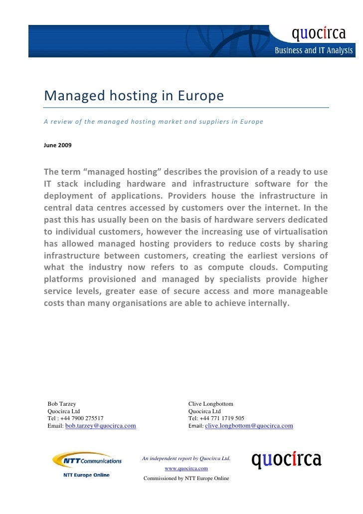 Microsoft Word - Quocirca - Managed Hosting in Europe - June 2009