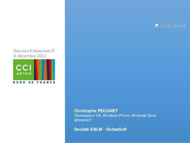 Réunion Entreprises IT6 décembre 2012                         Christophe PEUGNET                         Développeur C#, W...