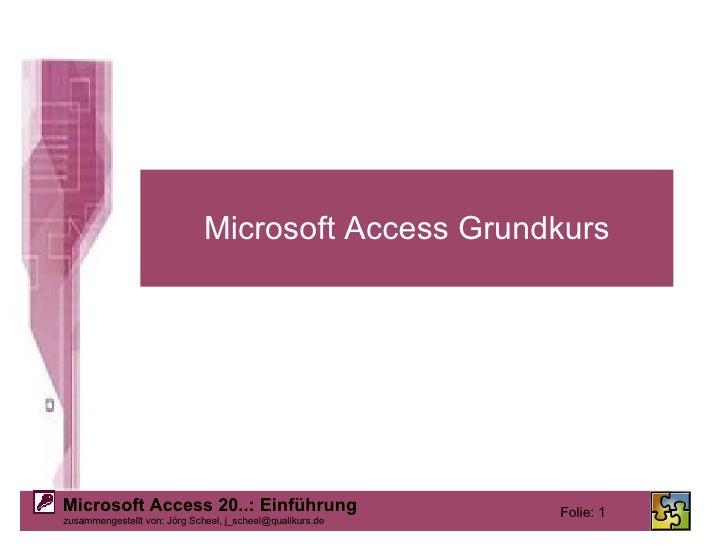 Microsoft Access Grundkurs