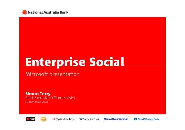 Enterprise SocialMicrosoft presentationSimon TerryChief Executive Officer, HICAPS20 November 2012