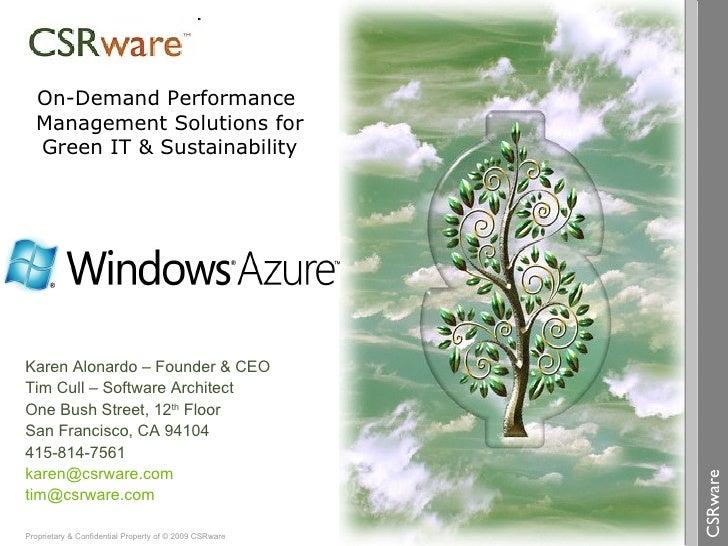 Karen Alonardo – Founder & CEO Tim Cull – Software Architect One Bush Street, 12 th  Floor San Francisco, CA 94104 415-814...