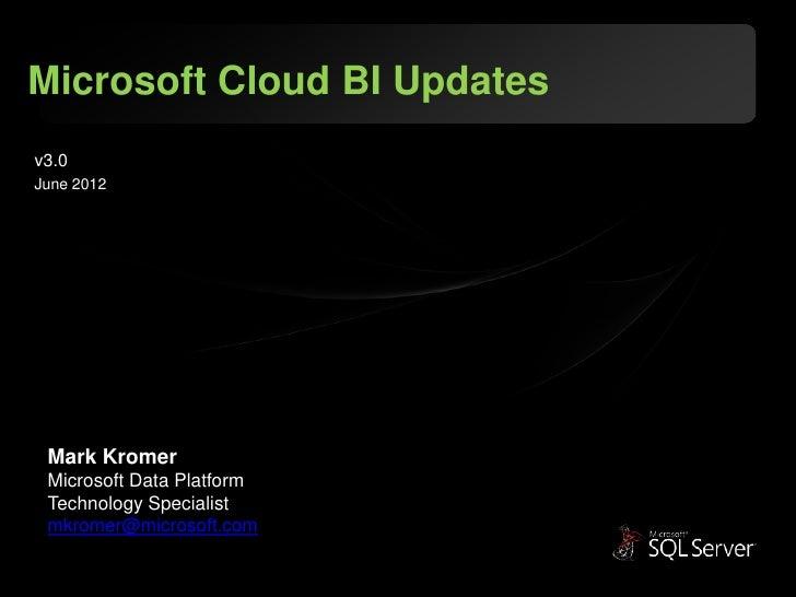 Microsoft Cloud BI Updatesv3.0June 2012 Mark Kromer Microsoft Data Platform Technology Specialist mkromer@microsoft.com