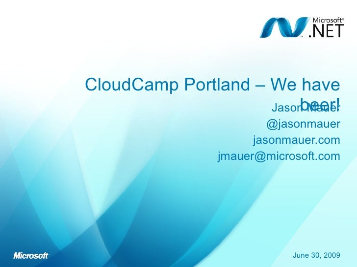 Jason Mauer Azure Lightning Talk at CloudCampPDX