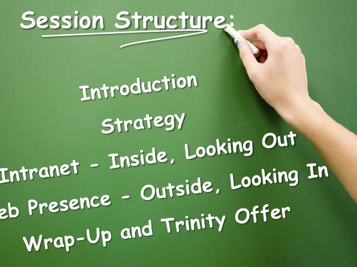 Session Structure:<br />Introduction<br />Strategy<br />Intranet - Inside, Looking Out<br />Web Presence - Outside, Lookin...