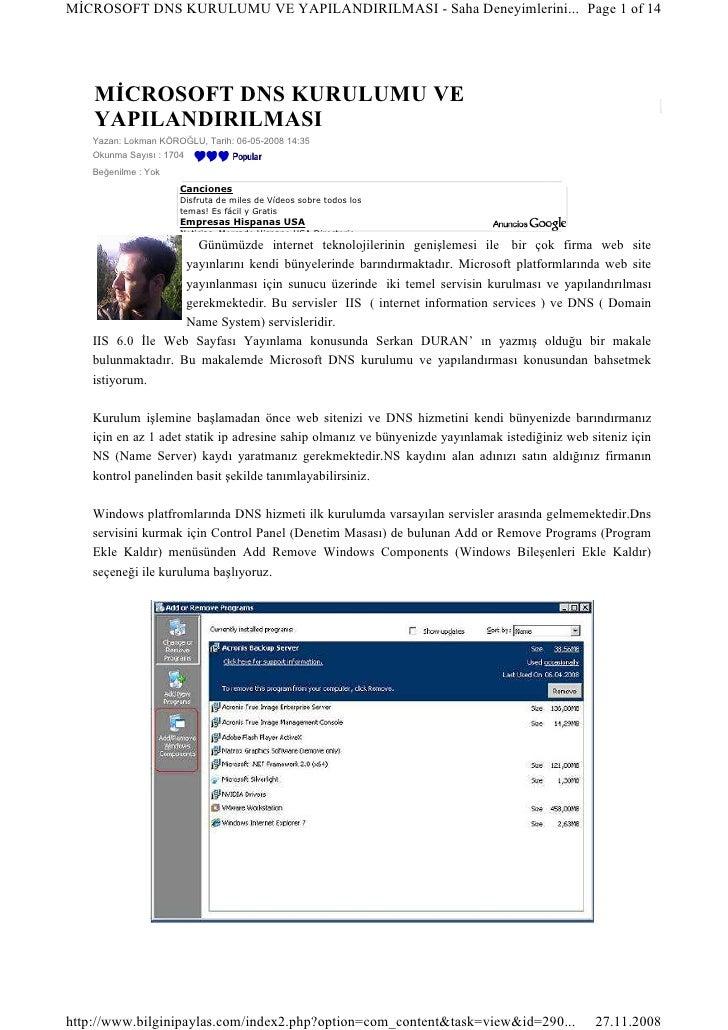 MĐCROSOFT DNS KURULUMU VE YAPILANDIRILMASI - Saha Deneyimlerini... Page 1 of 14         MĐCROSOFT DNS KURULUMU VE     YAPI...