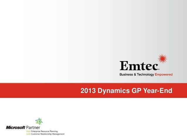 2013 Dynamics GP Year-End