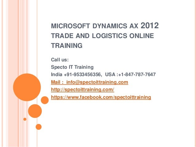 microsoft dynamics ax 2012 trade and logistics