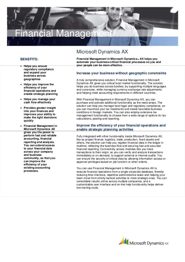 Financial Management                               Microsoft Dynamics AX BENEFITS:                     Financial Managemen...