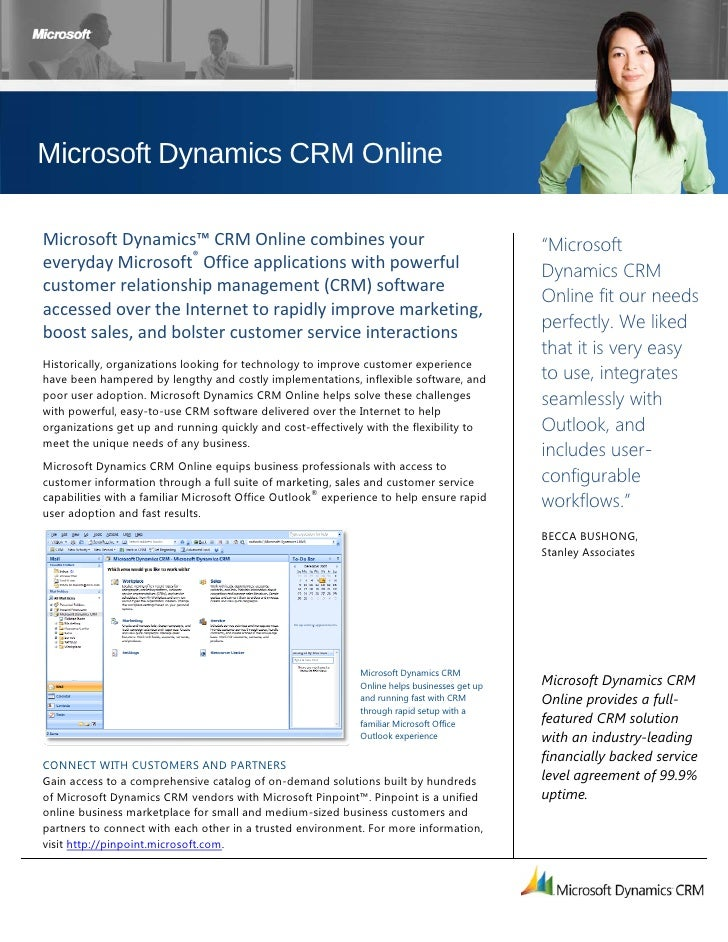 Microsoft Dynamics CRM Online  Microsoft Dynamics™ CRM Online combines your                                         ...