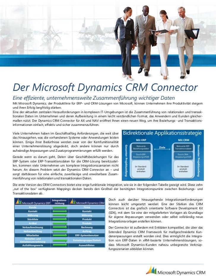 Der Microsoft Dynamics CRM ConnectorEine effiziente, unternehmensweite Zusammenführung wichtiger DatenMit Microsoft Dynami...
