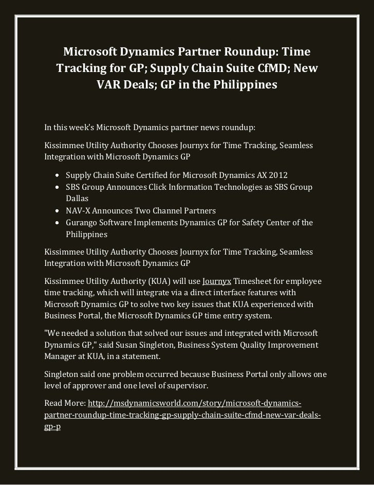 Microsoft dynamics partner roundup time tracking for gp; supply chain suite cf md; new var deals; gp in the philippines