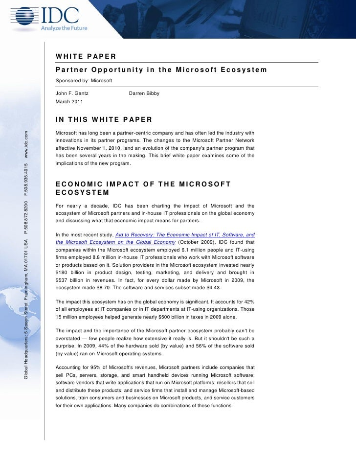 WHITE P APER                                                               Partner Opportunity in the Microsoft Ecosystem ...