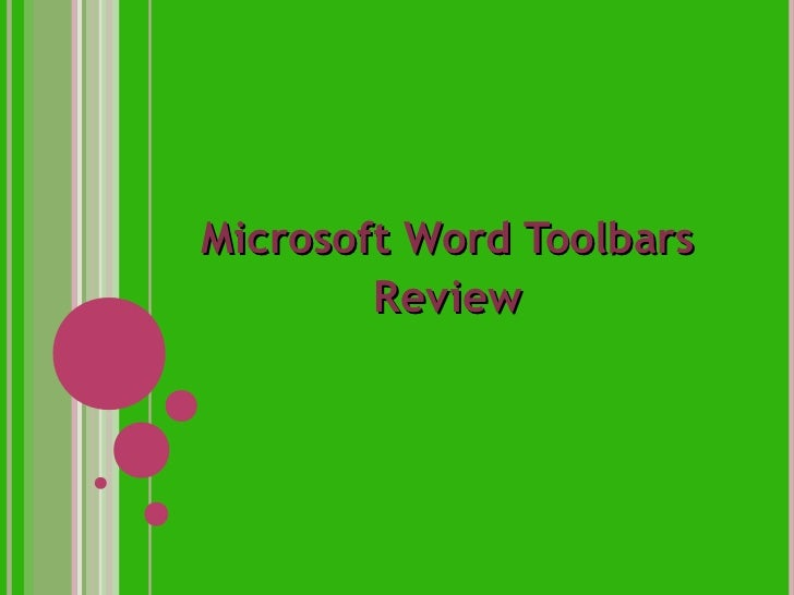 Microsoft Word Toolbars        Review