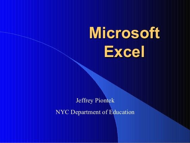 Microsoft excel training module