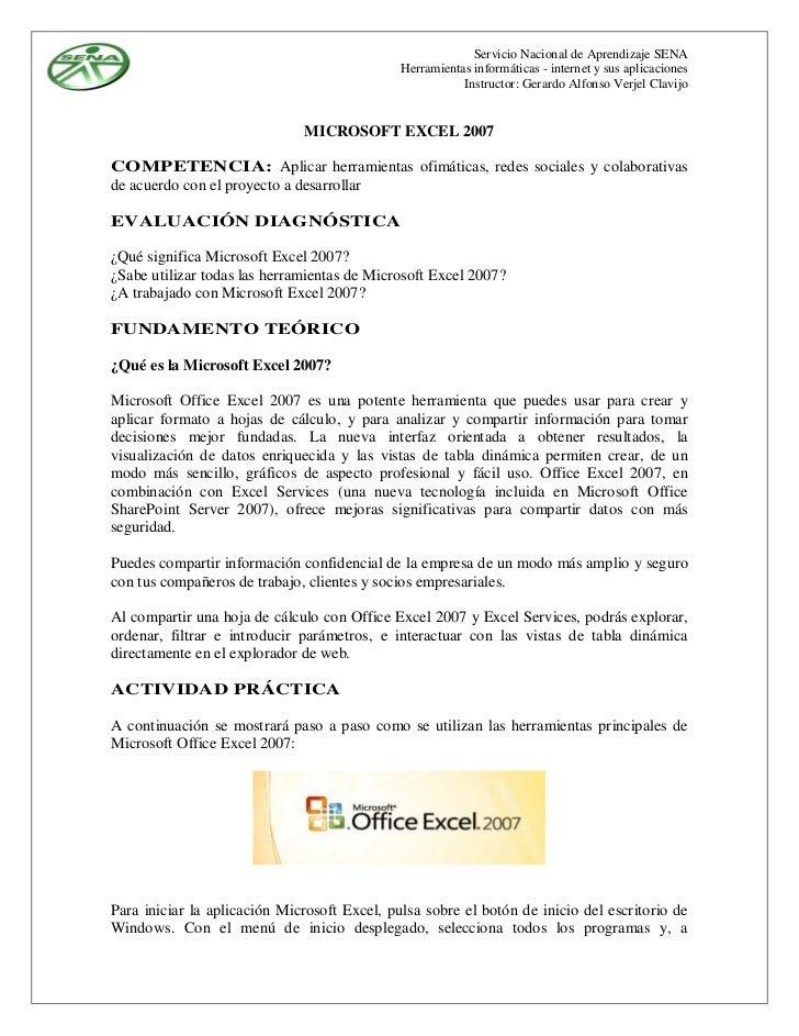 Servicio Nacional de Aprendizaje SENA                                              Herramientas informáticas - internet y ...