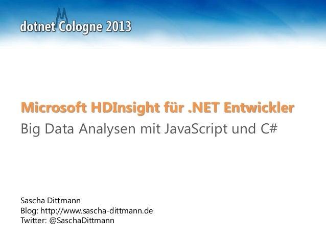 dotnet Cologne 2013 - Microsoft HD Insight für .NET Entwickler