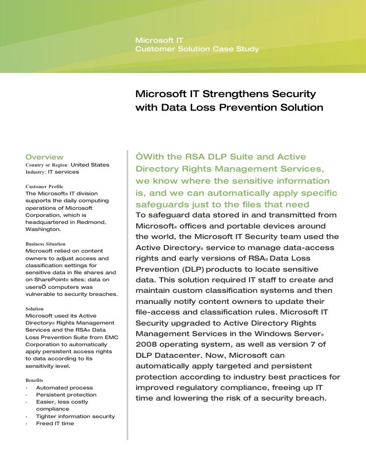 Microsoft IT                                     Customer Solution Case Study                                         Micr...