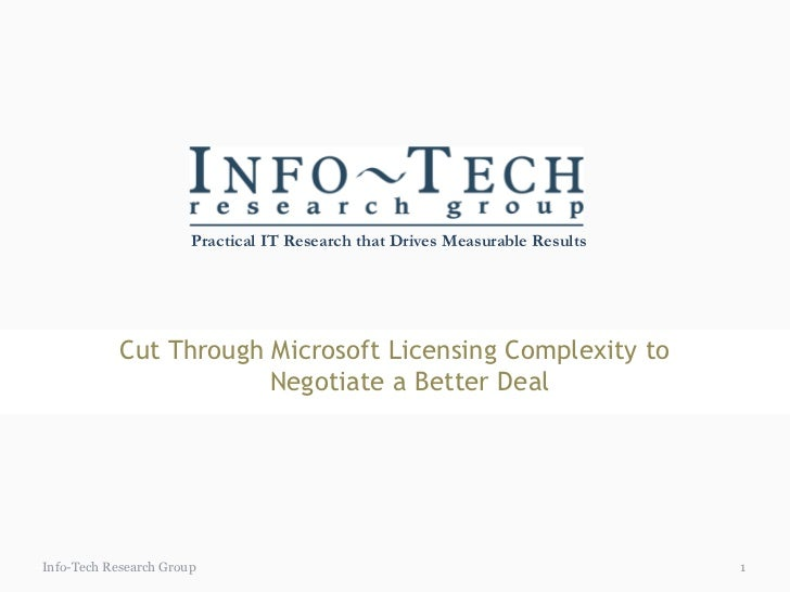 Practical IT Research that Drives Measurable Results            Cut Through Microsoft Licensing Complexity to             ...