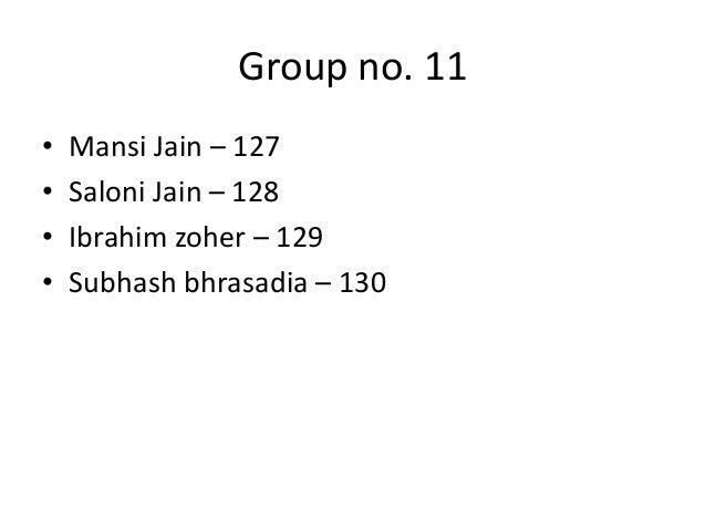 Group no. 11 • • • •  Mansi Jain – 127 Saloni Jain – 128 Ibrahim zoher – 129 Subhash bhrasadia – 130