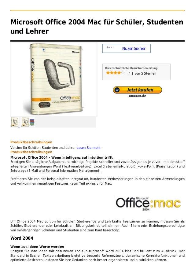 Microsoft Office 2004 Mac für Schüler, Studentenund Lehrer                                                               P...