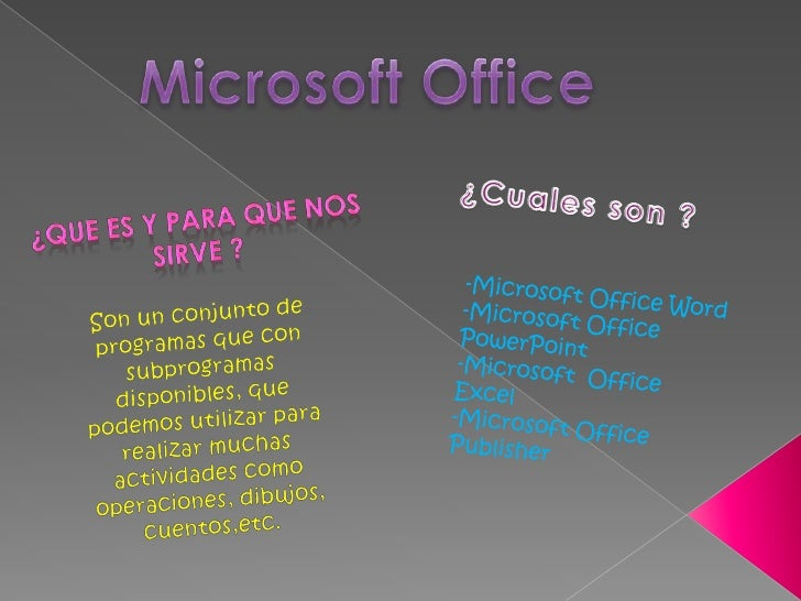 Microsoft Office <br />¿Cuales son ?<br />¿Que es y para que nos sirve ?<br />-Microsoft Office Word<br />-Microsoft Offic...