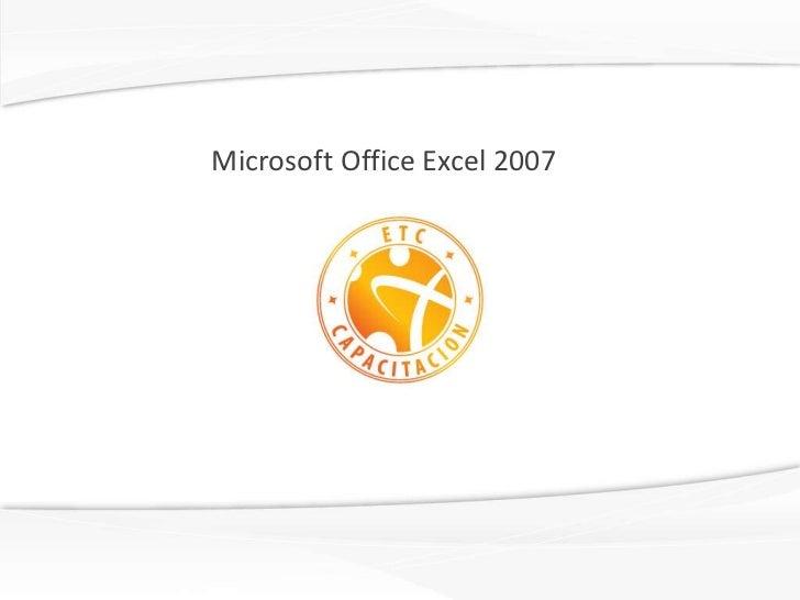 Microsoft office excel 2007 english