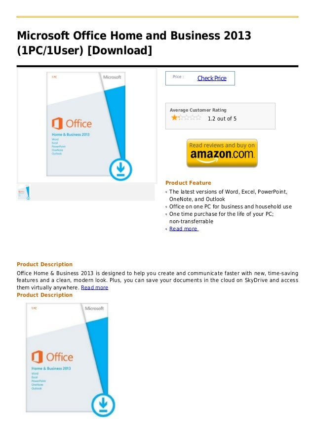Microsoft Office Home and Business 2013(1PC/1User) [Download]                                                           Pr...