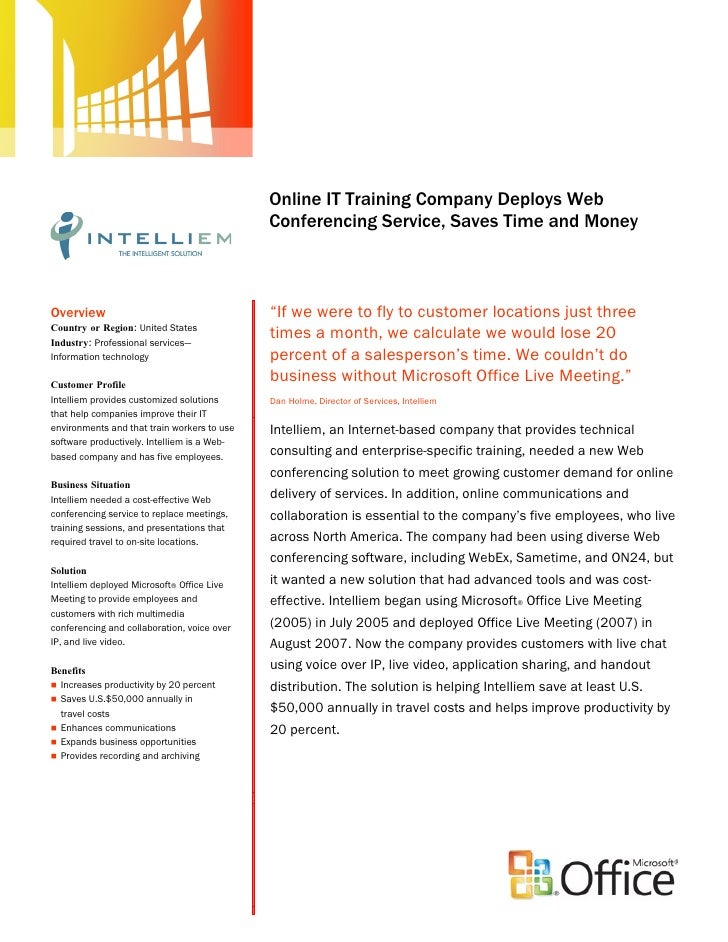 Intelliem IT Saves Time & Money with Microsoft Web Conferencing Service: Case Study