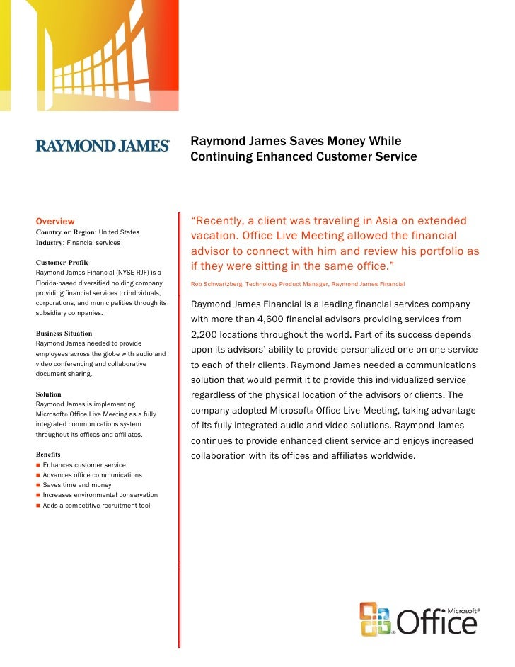 RaymondJames Financial Services Enhances Customer Service with Microsoft Office Live Meeting: Case Study