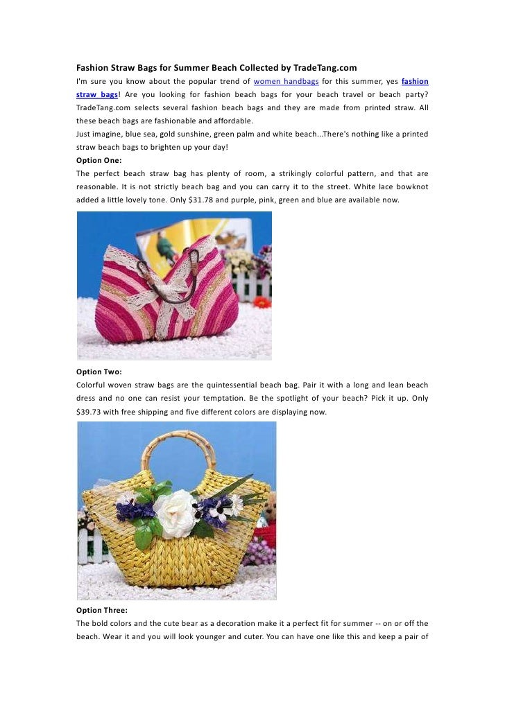 Fashion Straw Bags for Summer Beach Collected by TradeTang.comIm sure you know about the popular trend of women handbags f...