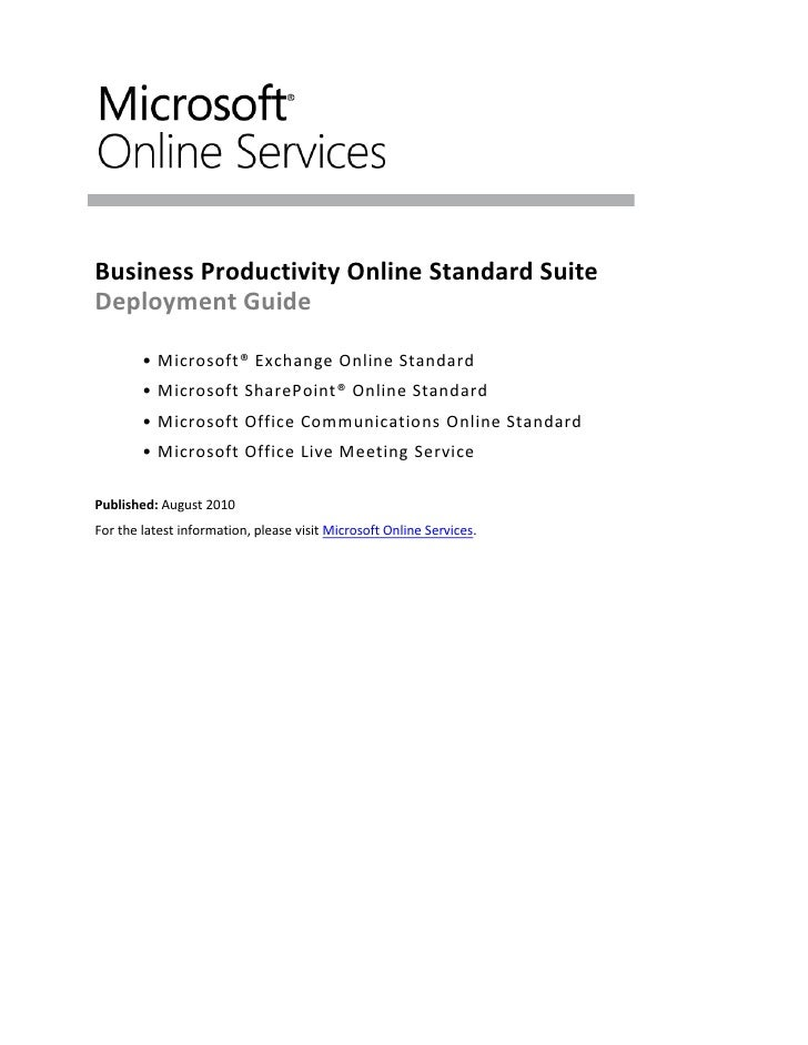 Deployment Guide for Business Productivity Online Standard Suite: Whitepaper