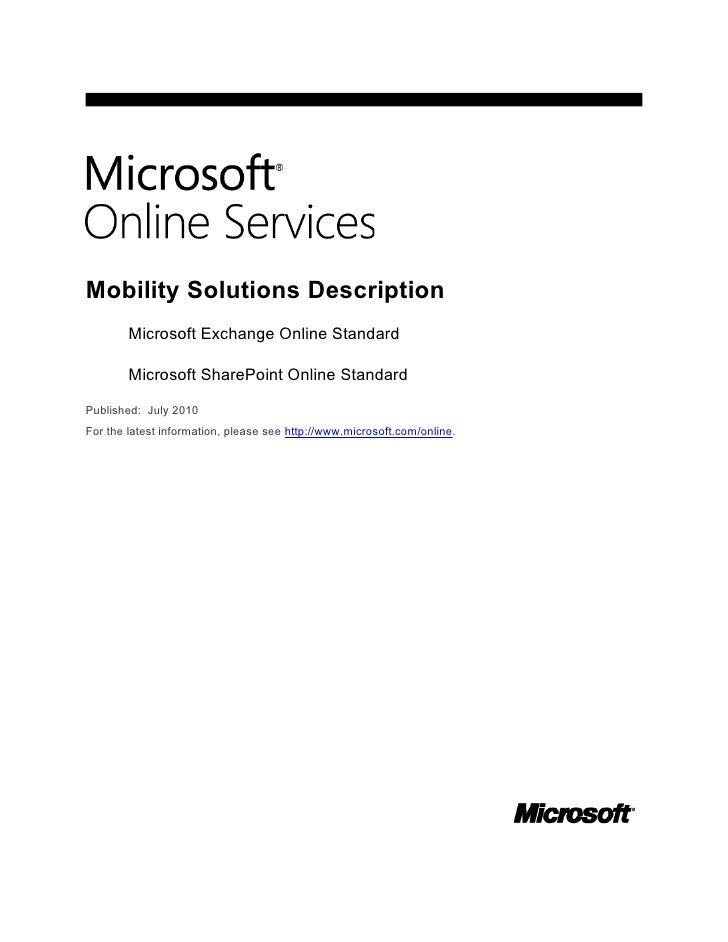 Features of Microsoft Online Services Available on Different Mobile Phones: Whitepaper