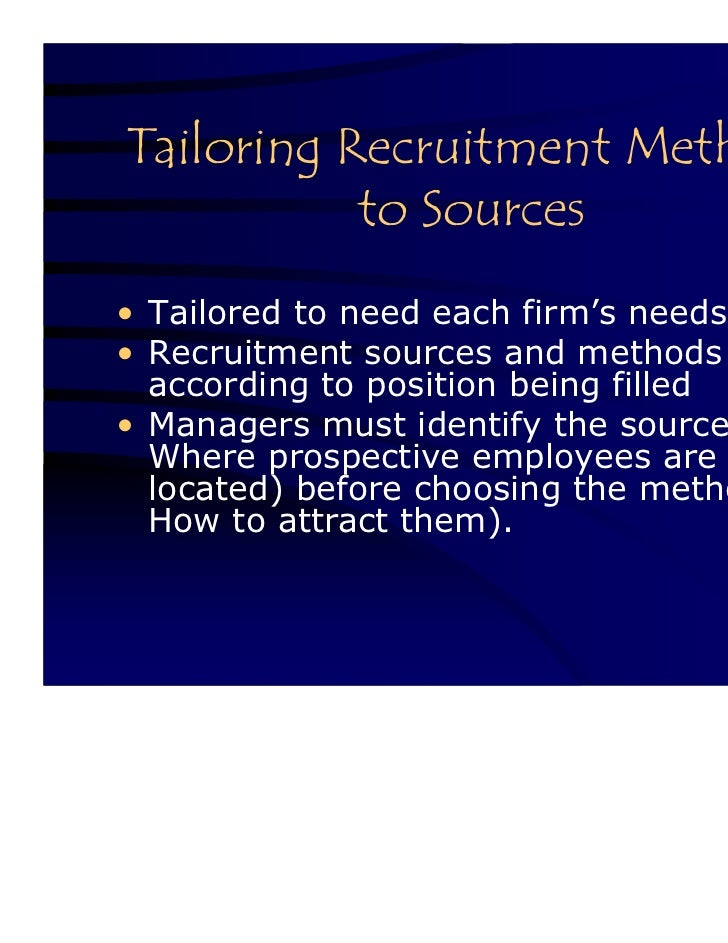 tailoring recruitment methods to source 52 / designing and implementing training programs 523  source: adapted from potter  methods for assessing training needs are outlined below.