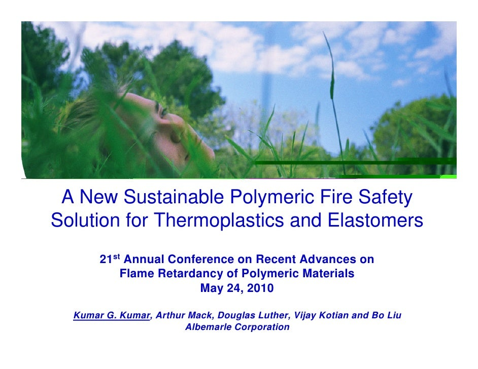 A New Sustainable Polymeric Fire Safety Solution for Thermoplastics and Elastomers