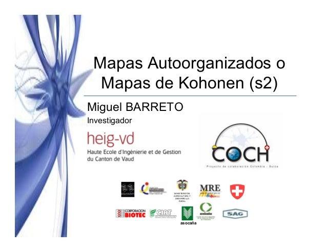 Mapas Autoorganizados o Mapas de Kohonen (s2) Miguel BARRETO Investigador  MINISTERIO DE AGRICULTURA Y DESARROLLO RURAL  a...