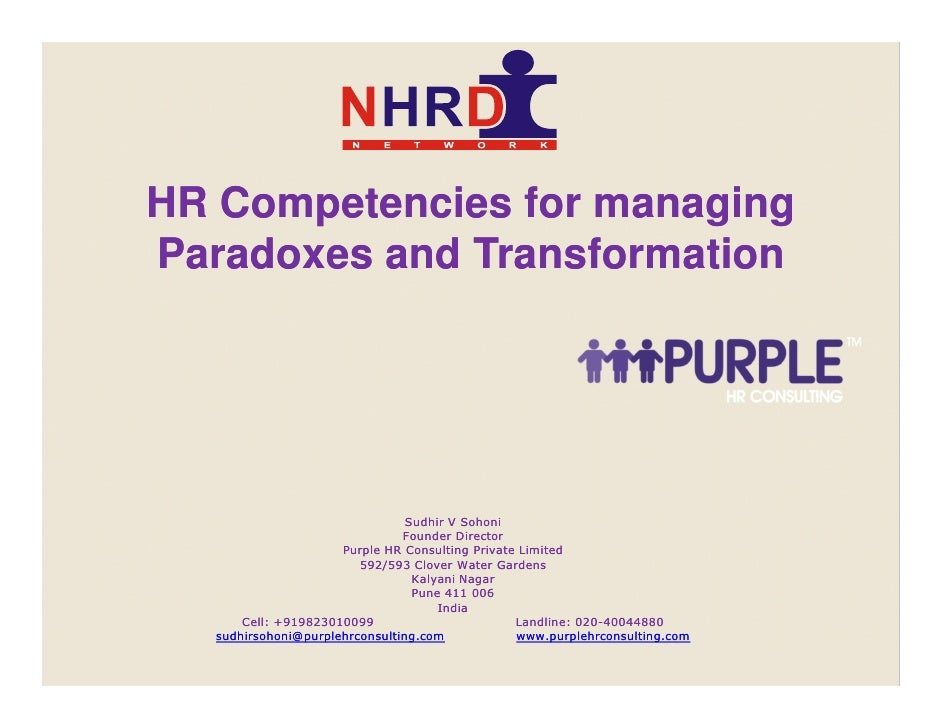 HR Competencies for managing                   Paradoxes and Transformation                                               ...