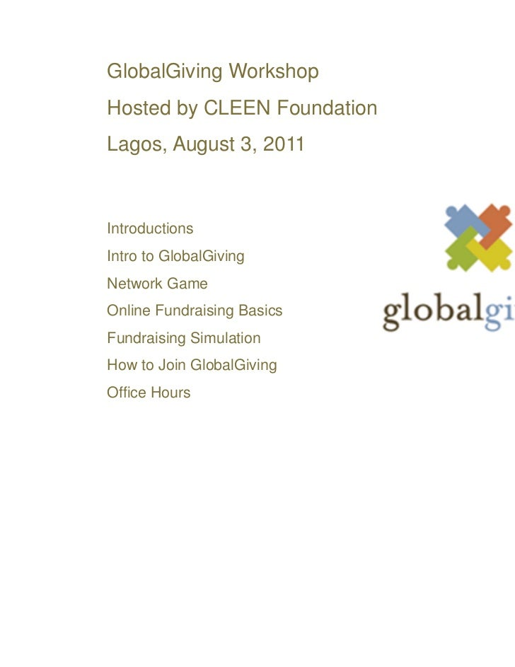 CLEEN Foundation - GlobalGiving Workshop - Lagos