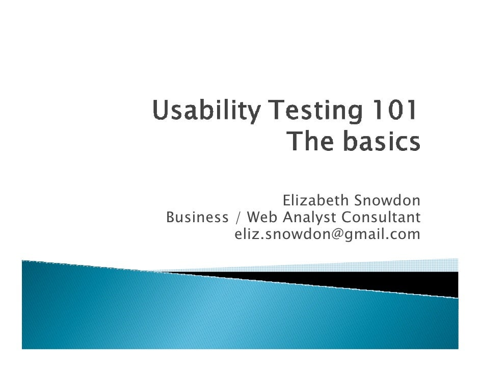 Usability Testing 101 - an introduction