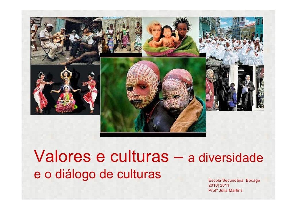 Valores e culturas – a diversidadee o diálogo de culturas   Escola Secundária Bocage                          2010  2011  ...